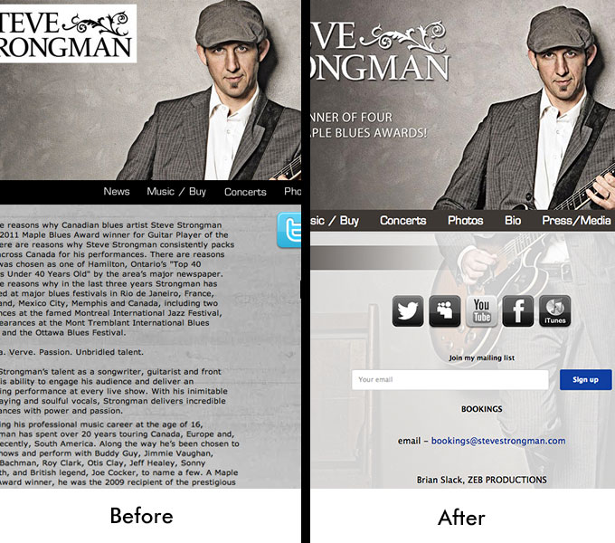 Steve Strongman Website Before and After